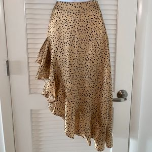 leopard high to low frill skirt